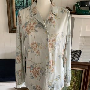 Vintage Perma- Prest Sears Floral Medium Button up
